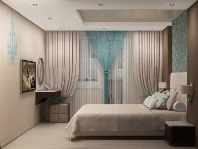бирюзово-бежевый интерьер спальни