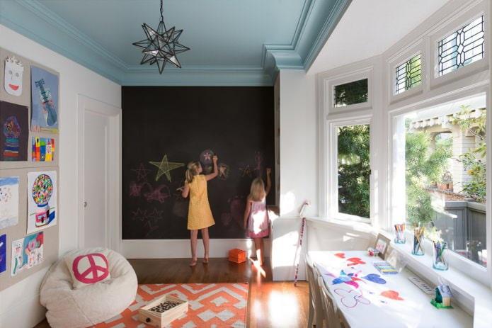 блекло-синий цвет потолка в детской комнате
