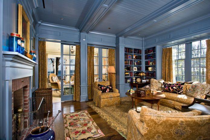 синий деревянный потолок
