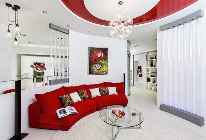 минималистичная гостиная с красным модульным диваном
