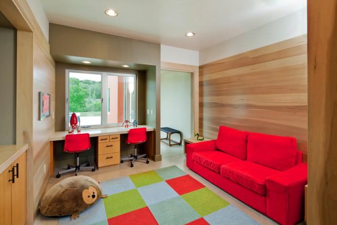 тканевый яркий диван в детской