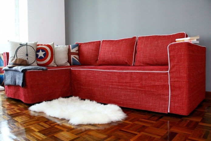 красный чехол для дивана из рогожки