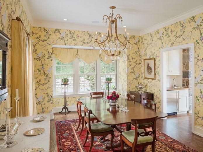 выбор штор под желтые обои