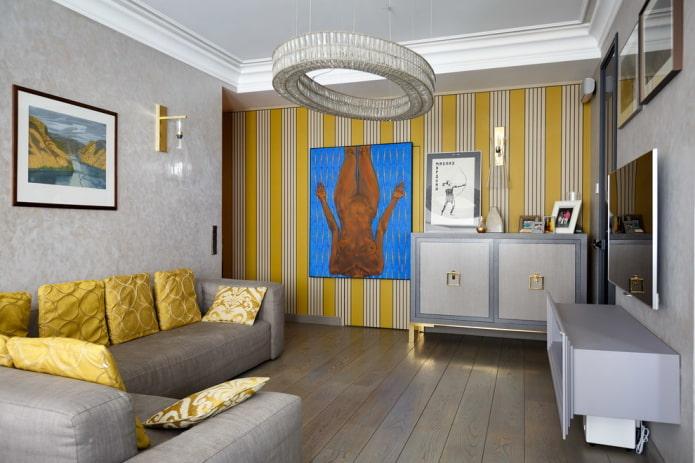 Желто-серые обои в гостиной