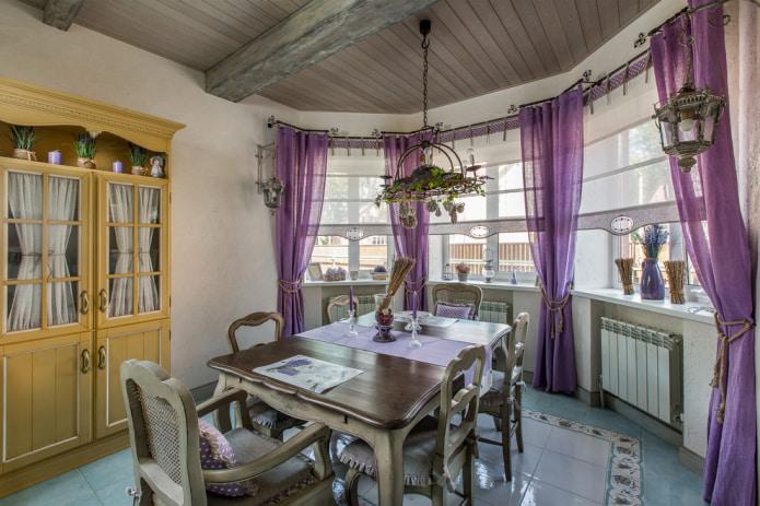 льняные занавески и римские шторы в стиле прованс