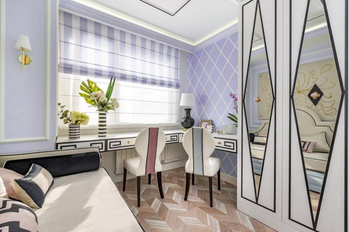 Фиолетово-белые римские шторы в полоску
