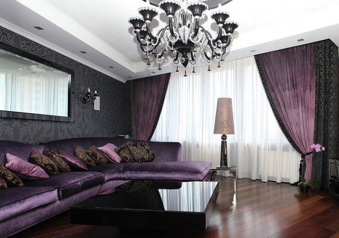 Черно-фиолетовые плотные шторы