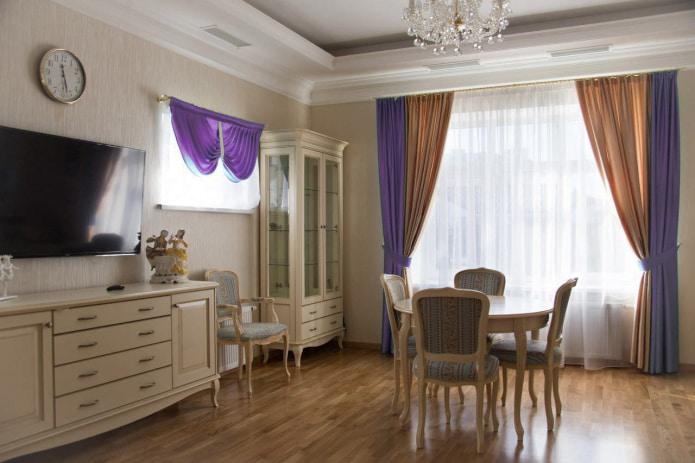 фиолетово-золотые шторы