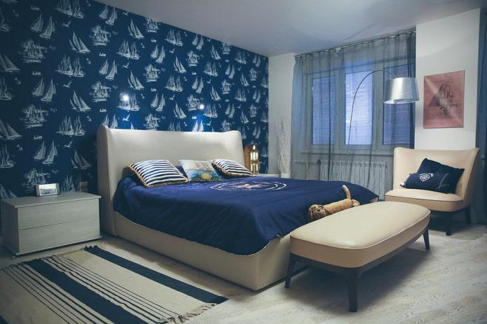морской стиль в спальне