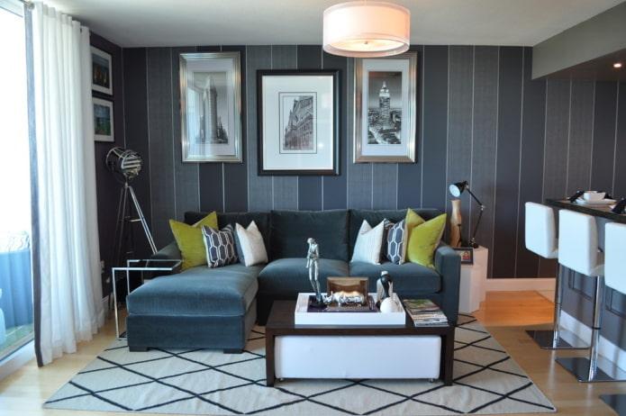 темно-синяя гостиная