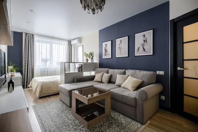 зонирование спальни и гостиной обоями