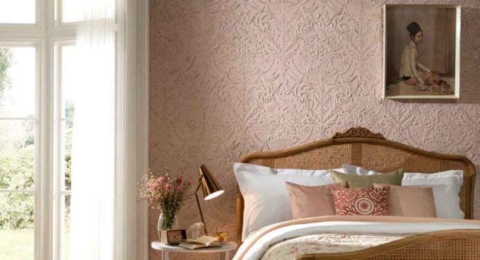 спальня с отделкой акриловыми обоями