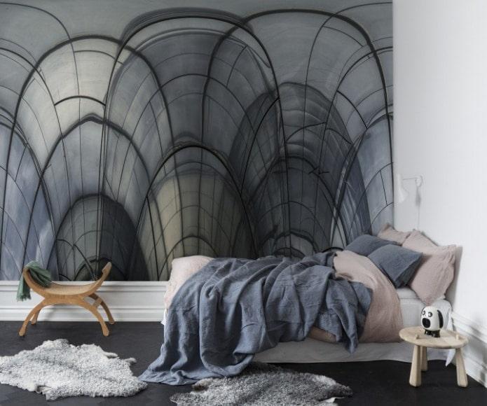 маленькая спальня с минималистичным дизайном и отделкой 3д обоями