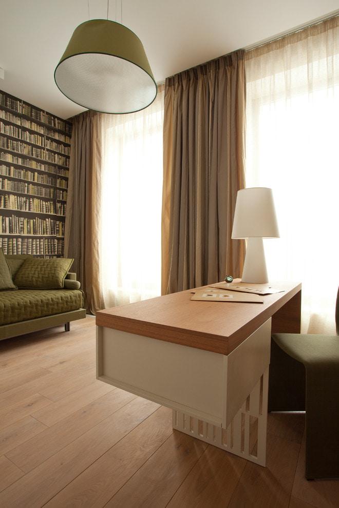 Отделка расширяющими пространство фотообоями с изображением книжных полок