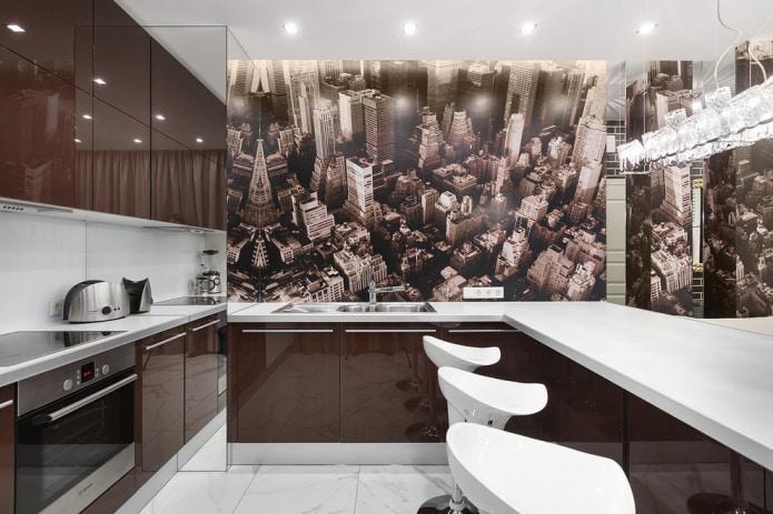 обои мегаполис на кухне