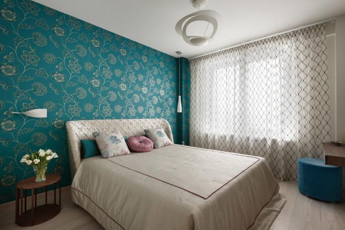бирюзовые обои в спальне