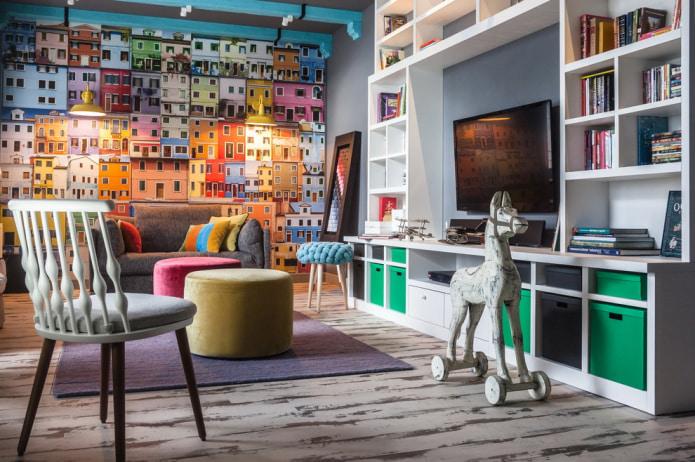 фотообои с изображением ярких фасадов домов