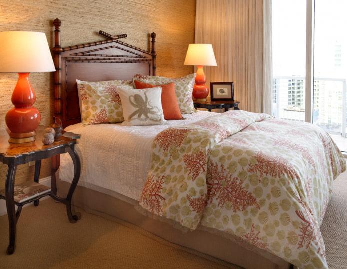интерьер спальни с обоями из бамбука