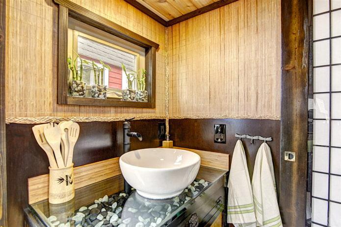 бамбуковая отделка ванной