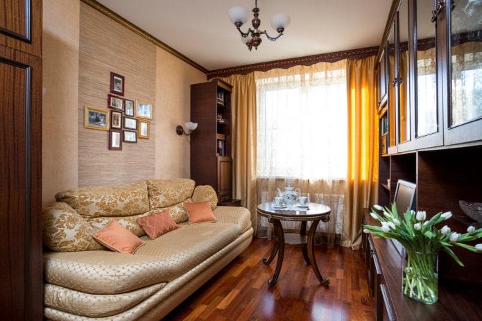 бамбуковые обои и штукатурка в гостиной
