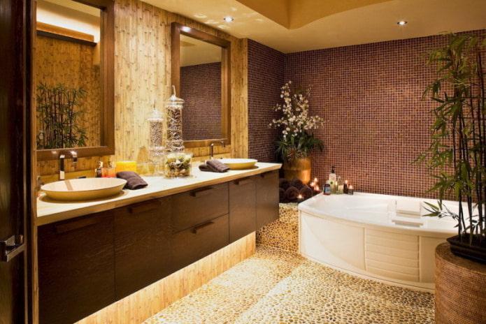 плитка и бамбук в ванной