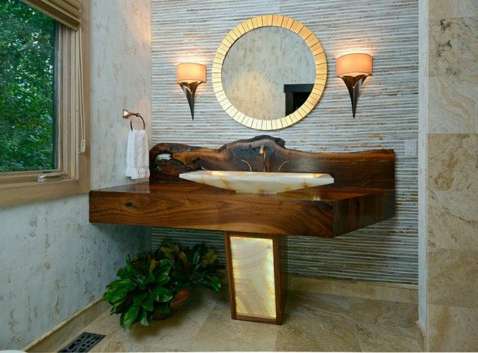обои из бамбука в ванной