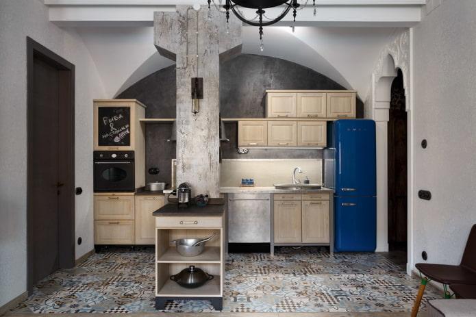 серые стены под штукатурку на кухне