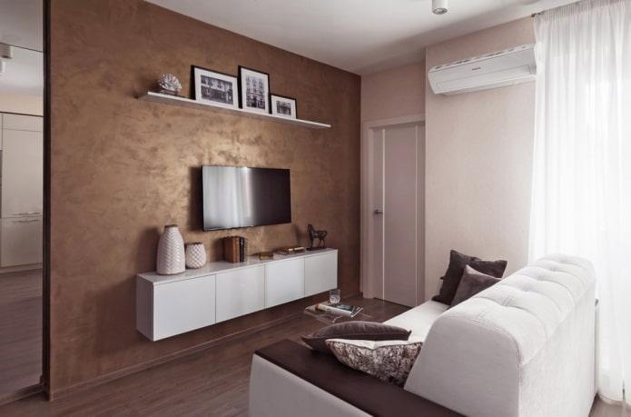 коричневые стены под штукатурку в гостиной