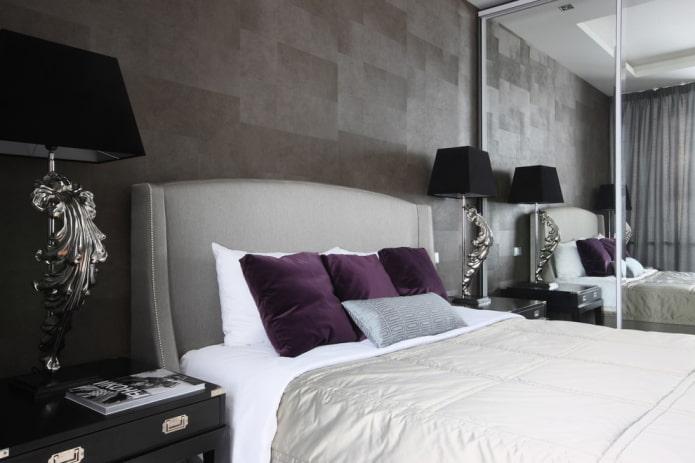Дизайн спальни в сером цвете