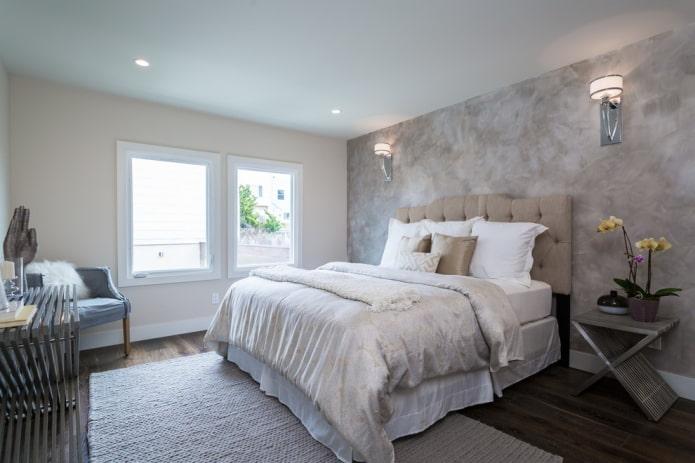 серые стены в спальне