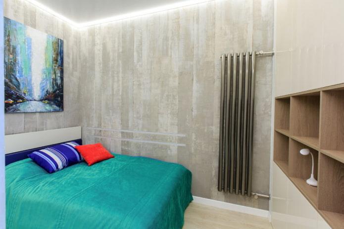лофт в спальне с серыми стенами