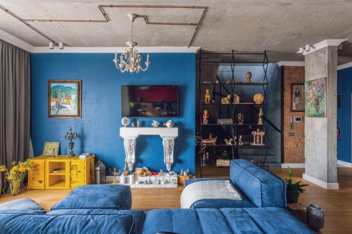 гостиная в стиле лофт