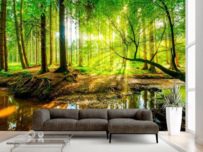лес на обоях