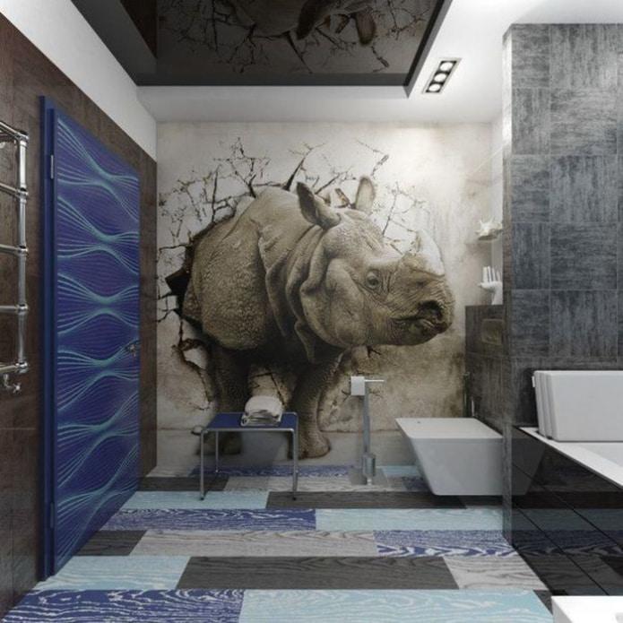 носорог на обоях