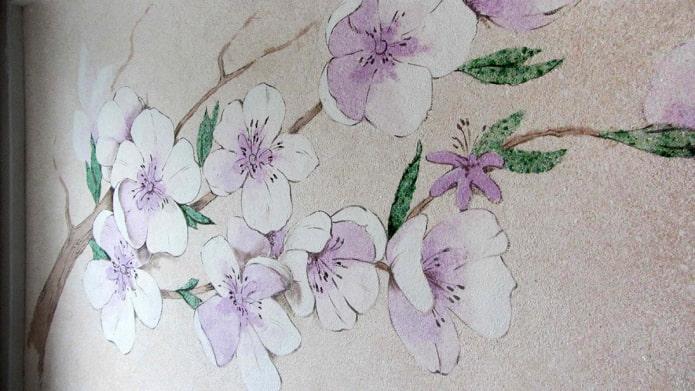 цветы сакуры жидкими обоями