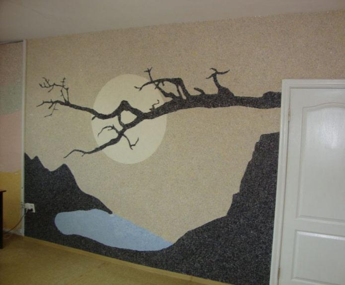 рисунок пейзаж со скалами и морем