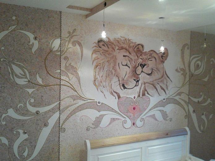 рисунок львов у изголовья кровати