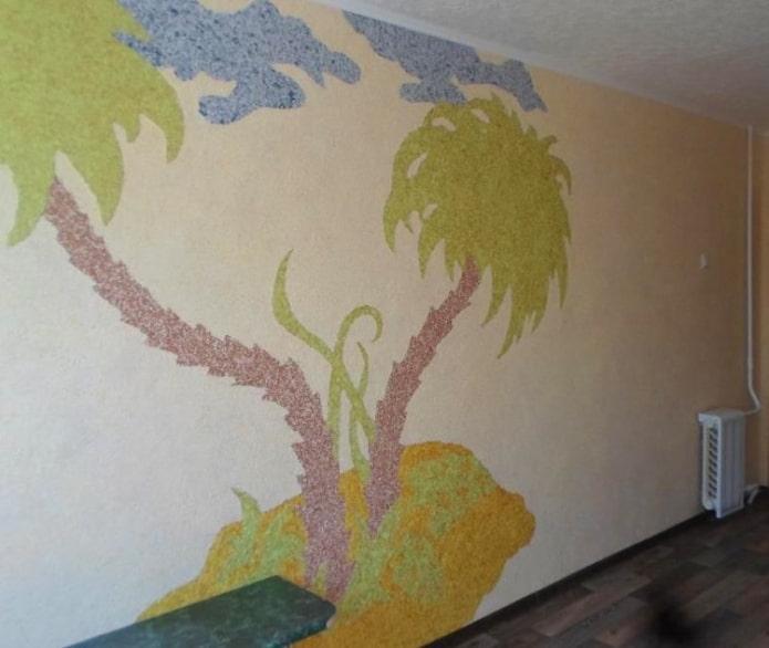 рисунок пальмы на острове на стене