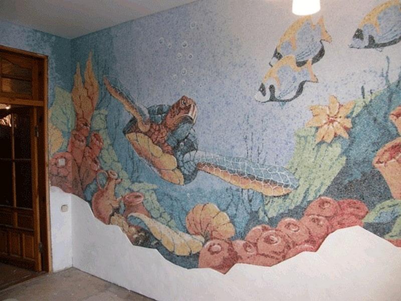 Рисунки из жидких обоев на стенах своими руками