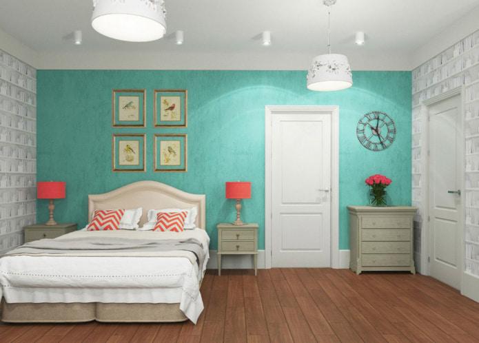 спальня светло-бирюзовыми обоями