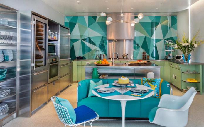 На фото современная кухня в бирюзовых тонах