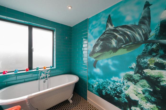 фотообои в ванной с принтом акулы