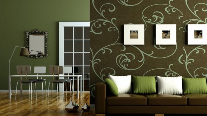 коричневый и зеленый цвет в интерьере