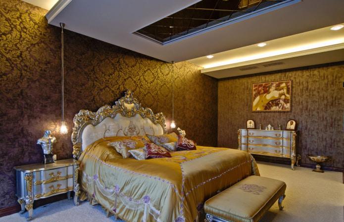 коричневая спальня в классическом стиле
