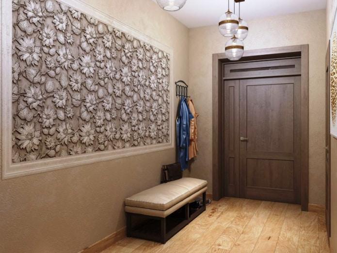 сочетание коричневых стен с дверьми
