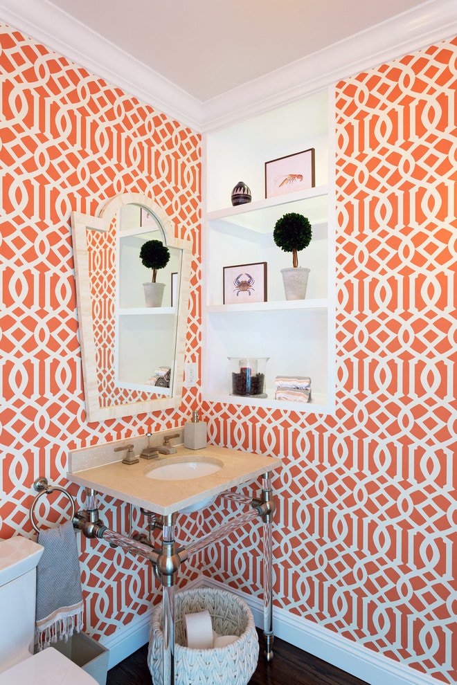 бело-оранжевые обои