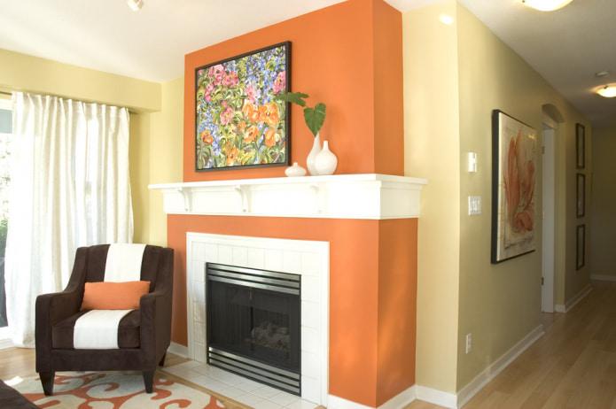 бежево-оранжевые стены