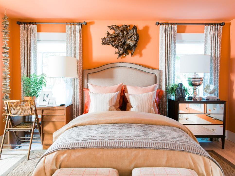 дизайн спальни в оранжевых тонах фото пришла пора