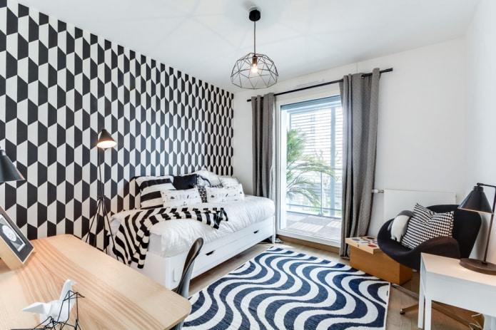 геометрический рисунок в комнате подростка
