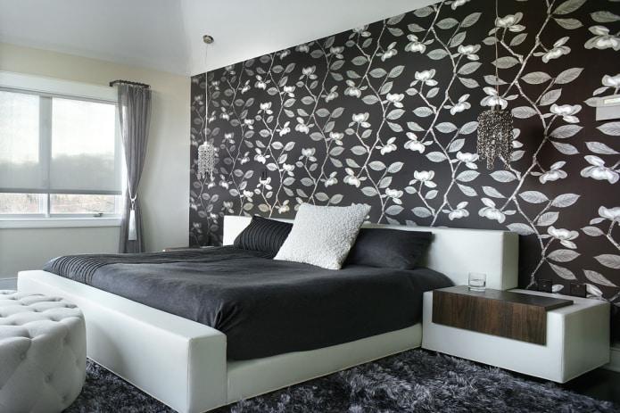 черно-белые обои в спальне